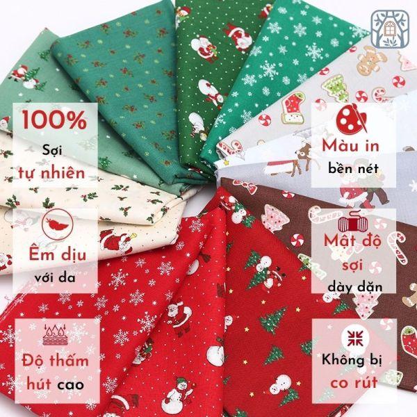 Vải cotton 100% tự nhiên🍒Chuanshui🍒khổ vải 110cm,GIÁNG SINH, NOEL - vải đẹp handmade, quilt,may quần áo, túi, mũ cao cấp