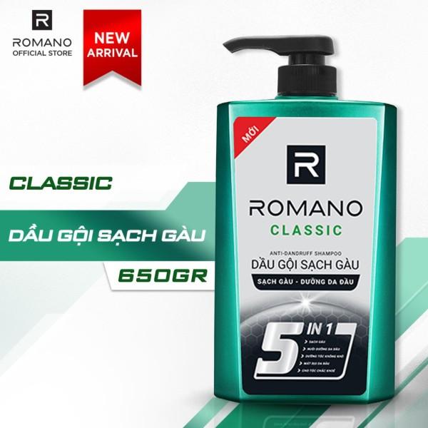 DẦU GỘI SẠCH GÀU DƯỠNG DA ĐẦU ROMANO CLASSIC 5 IN1 650G giá rẻ