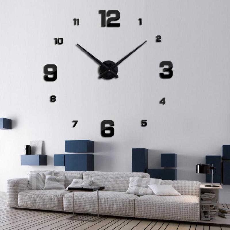 Nơi bán đồng hồ treo tường lớn đồng hồ lớn decal dán 3D chữ số La Mã DIY tường hiện đại Cg5NOVbl