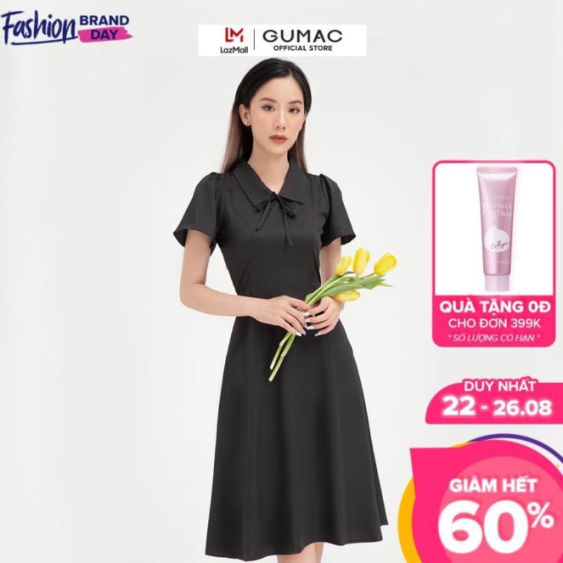 Nơi bán Váy đầm nữ đẹp kiểu dáng  tay ngắn phối nơ thời trang GUMAC mẫu mới DB409( có hình mẫu thực tế)