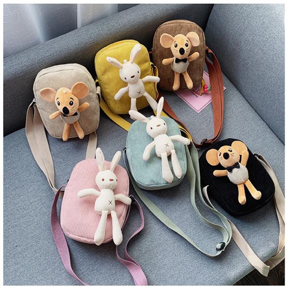 Giá bán Túi đeo chéo mini phong cách Hàn Quốc kèm chuột và thỏ dễ thương, thời trang cho bé gái TV01