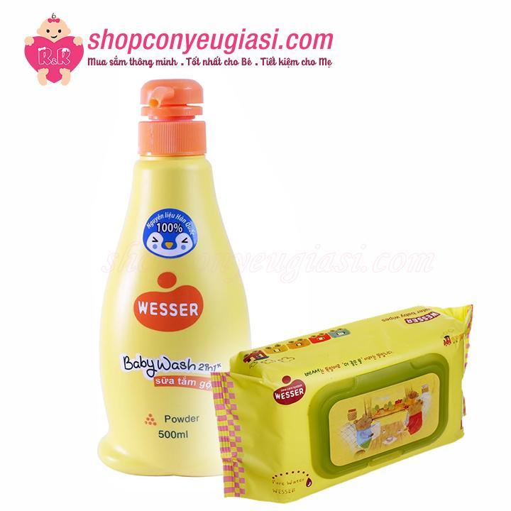 Sữa Tắm Gội Wesser Baby Wash 500ml - Tặng 1 Gói Khăn Ướt Wesser 80 Tờ
