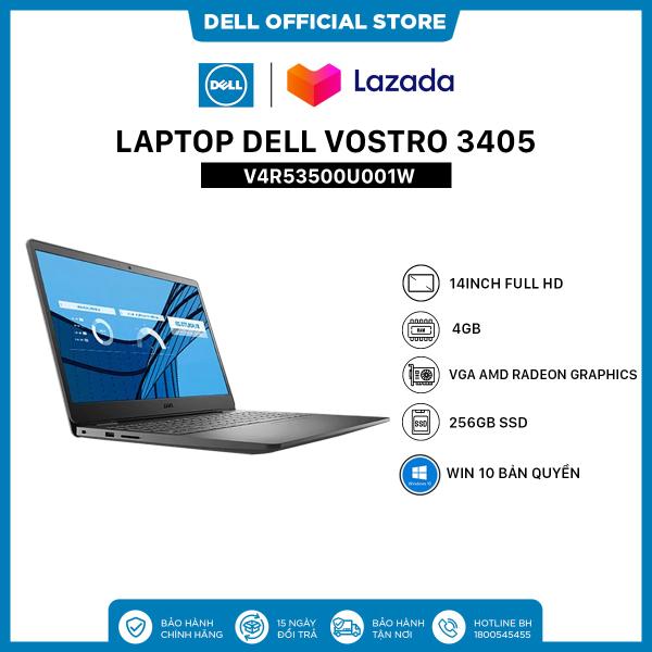 [TRẢ GÓP 0%_FREESHIP] Laptop Dell Vostro 3405 (V4R53500U001W) AMD R5 3500U  14inch FullHD  Ram 4GB  256GB SSD  VGA AMD Radeon Graphics  Win 10 Bản Quyền