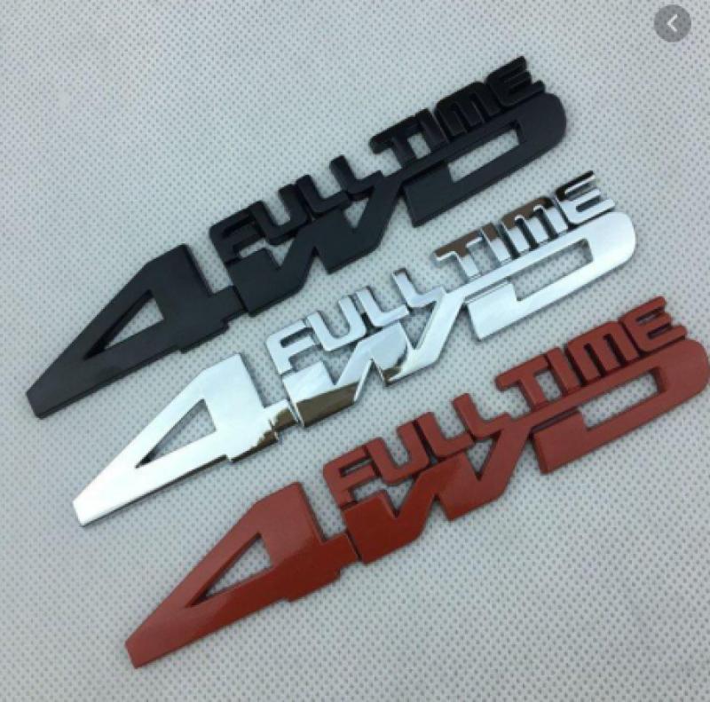 Decal Tem Chữ 4WD 3D INOX Cao Cấp Trang Trí Ô Tô, Xe Hơi