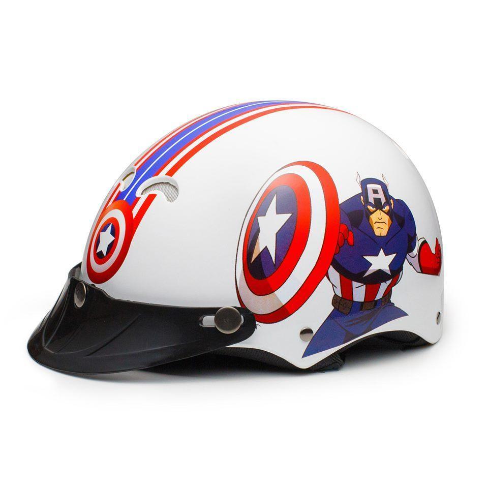 Giá bán Mũ Bảo Hiểm Trẻ Em Nửa Đầu Không Kính Protec Kitty 2 Màu Họa Tiết Captain America Chất Liệu ABS Vòng Đầu Từ 50 - 52 cm Dành Cho Bé Trai - AFAST VIỆT NAM