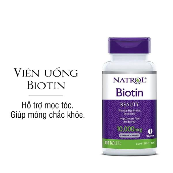 [100 VIÊN] Viên uống hỗ trợ mọc tóc - móng Natrol Biotin 10.000 mcg