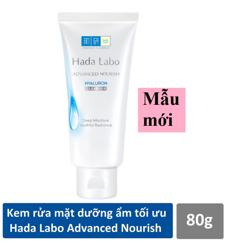 (HSD 2023) Kem rửa mặt dưỡng ẩm tối ưu Hada Labo Advanced Nourish Hyaluron Cleanser (80g)