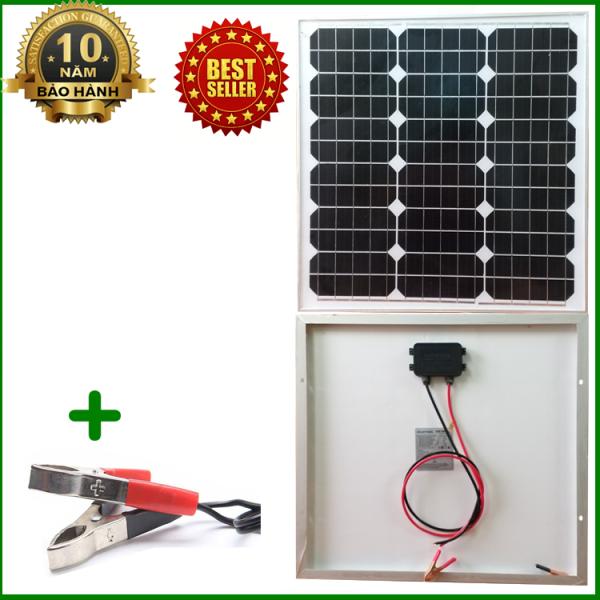 Tấm Pin năng lượng mặt trời đơn tinh thể Mono 30W tặng kèm kẹp bình acquy