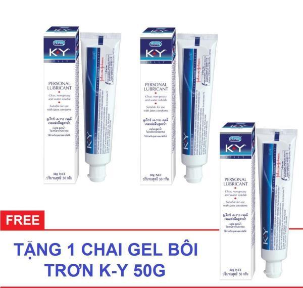 Bộ 2 Gel bôi trơn Durex K-Y 50g/hộp + Tặng 1 hộp cùng loại - Keulendi Store giá rẻ