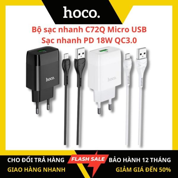 [Chính hãng HOCO] Bộ sạc nhanh Hoco C72Q cổng Micro USB sạc nhanh cho android PD 18W QC 3.0 dây dài 1m tương thích với nhiều thiết bị điện thoại Samsung/Xiaomi/Oppo - KAMTrading