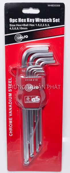 Bộ Lục Giác Đầu Bi Conso 9 Chi Tiết WHBD0309 (1.5-10mm)