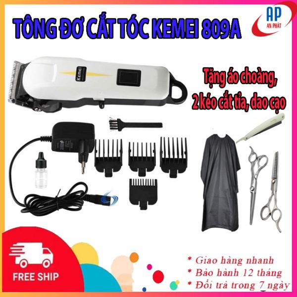 [Tặng combo 4 món]  Tông đơ cắt tóc Kemei 809A không dây cao cấp màn hình LCD hiển thị- Tăng đơ hớt tóc cho bé, người lớn, trẻ em, gia đình, thú cưng tại nhà chuyên nghiệp, tong do cat toc ,tăng đơ cắt tóc- Tặng 2 kéo,áo,dao cạo