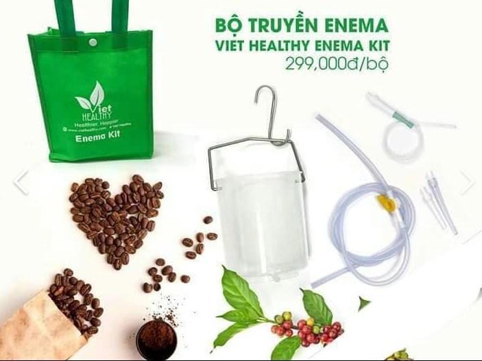 Bộ dụng cụ coffee enema bình nhựa dây vòi silicone, bộ xô cà phê enema nhựa cao cấp, bình nhựa làm cafe enema, enema kit cao cấp