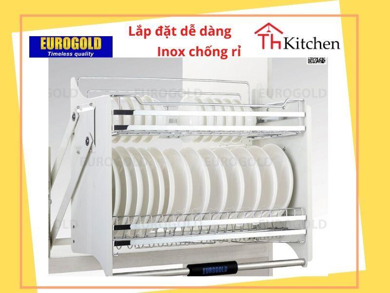 Phụ kiện tủ bếp EUROGOLD-EVI170 : Giá bát di động có điều chỉnh lực. Phần rổ inox 304 . Khung sơn theo công nghệ của sơn Oto