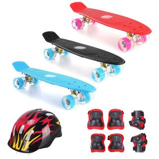 Ván Trượt Skateboard Có Đèn Led, Combo Ván Trượt Nhựa Penny Bánh Xe Có Đèn Led + Bộ Bảo Hộ (Mũ Bảo Hiểm Và Bảo Hộ Tay Chân) thumbnail
