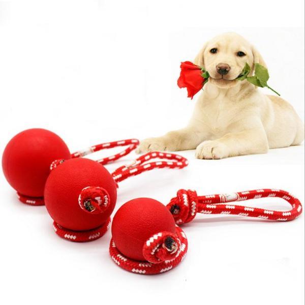 Đồ chơi bóng cao su gắn dây cho thú cưng