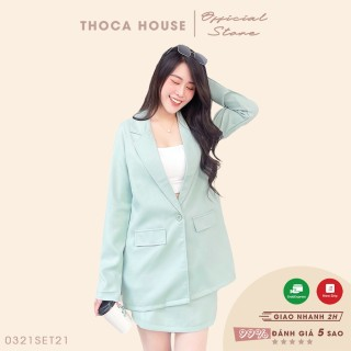 Set vest nữ - Áo blazer tay dài túi nấp và chân váy ngắn THOCA HOUSE màu xanh mint trẻ trung, hiện đại thumbnail