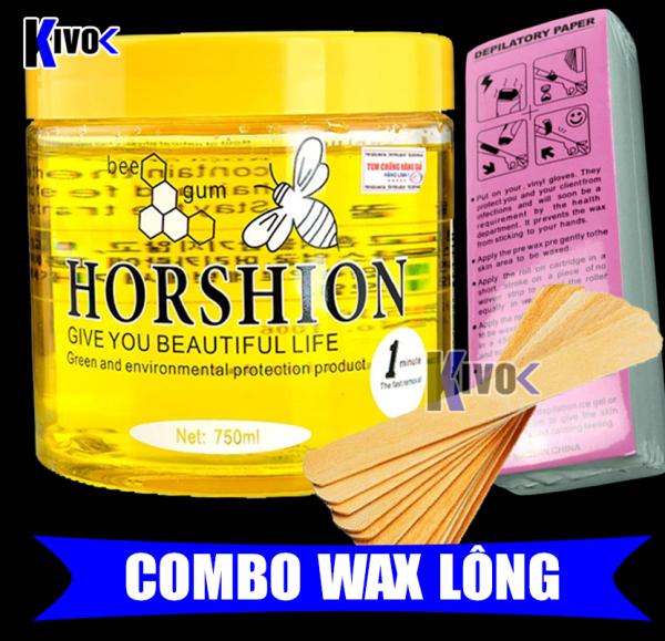 Gel Wax Lạnh Horshion Mật Ong + Miếng Giấy Wax 100 TỜ + Que wax lông - Tẩy Lông Lạnh Cho Chân Tay Nách Cơ Thể