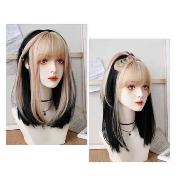 tóc giả nguyên đầu cúp 35cm phối mái vàng cao cấp