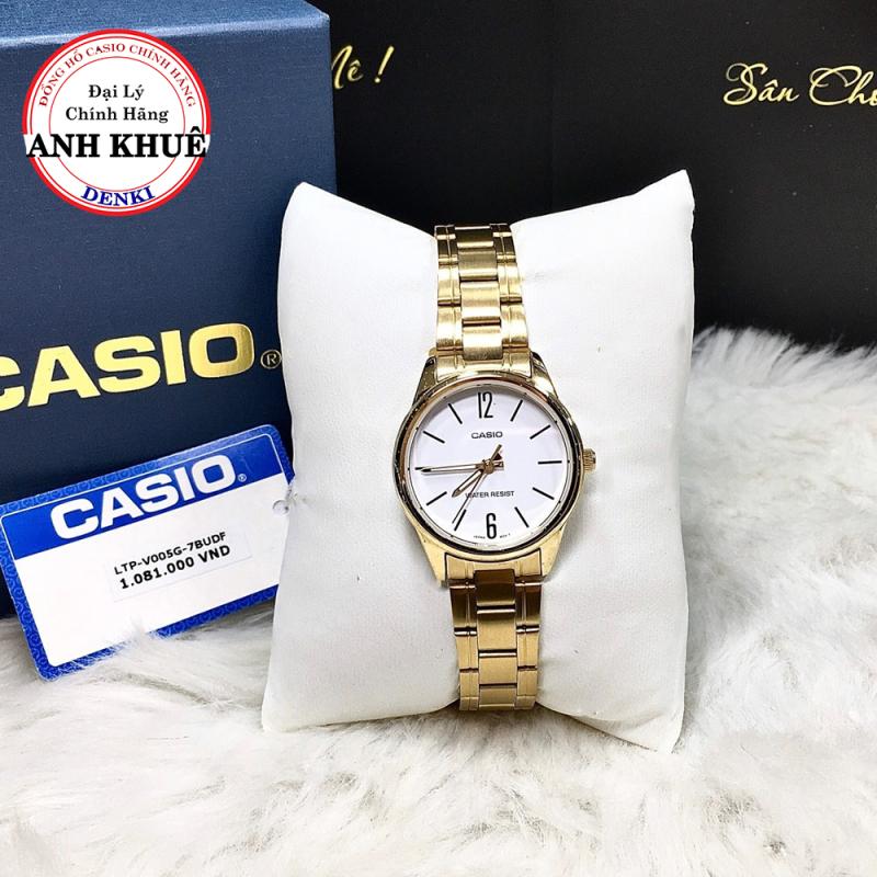[SALE] Đồng hồ nữ dây kim loại Casio Standard chính hãng Anh Khuê LTP-V005G-7BUDF