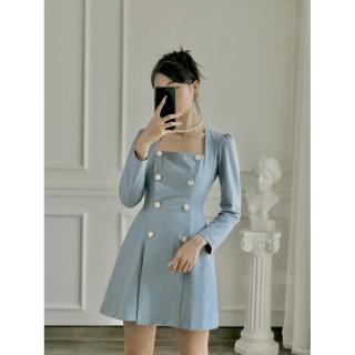 Rechic Đầm Shilla Màu Xanh Tay Dài Cổ Vuông dáng ngắn thanh lịch thời trang thumbnail