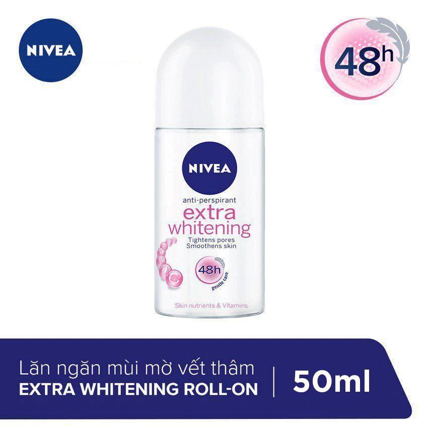 Lăn Ngăn Mùi Trắng Mịn Mờ Vết Thâm Nivea Extra Whitening Roll-on 50ml - 83747 nhập khẩu
