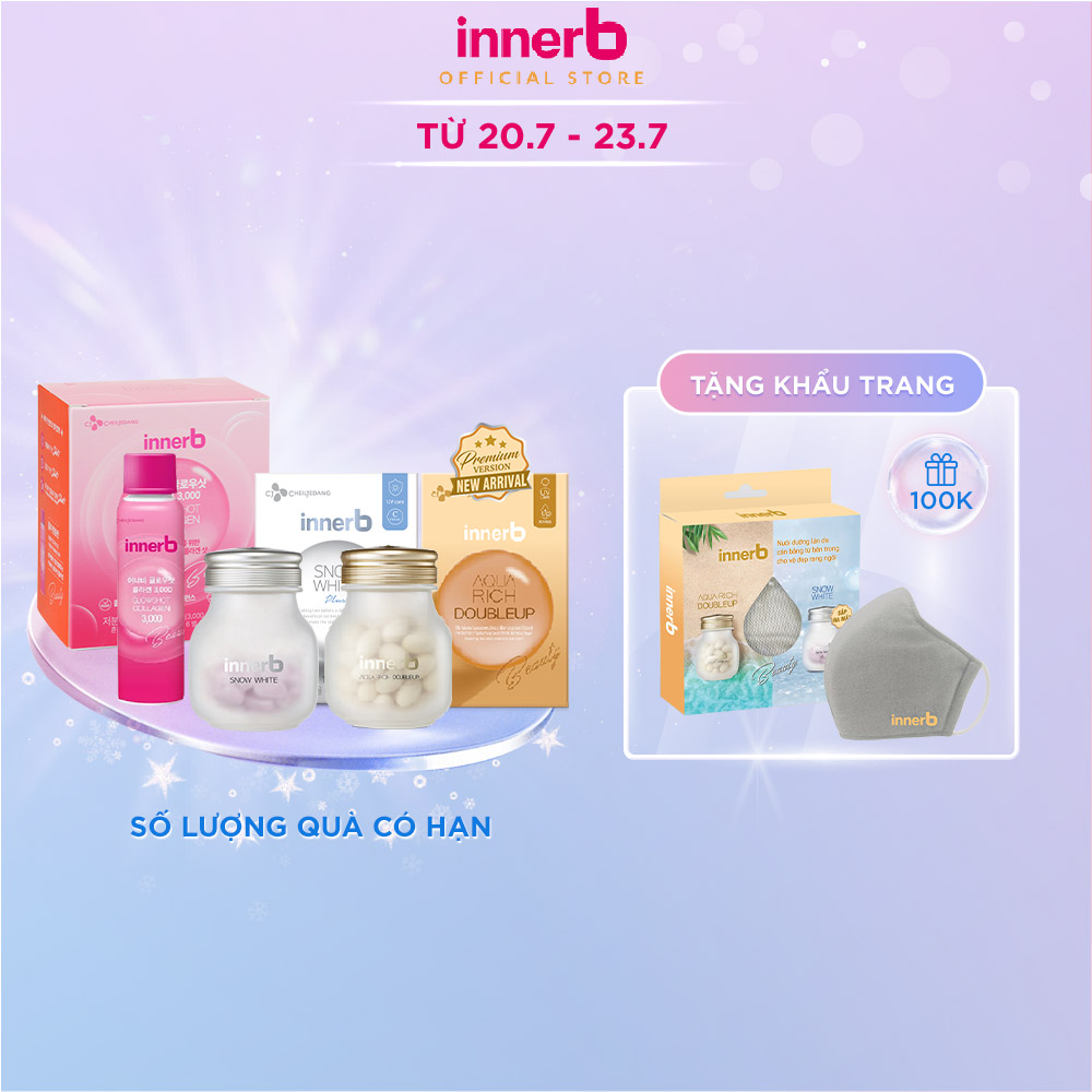 Combo 3 thực phẩm bảo vệ sức khỏe InnerB Aqua Rich Doubleup (56 viên) + Viên uống hỗ trợ sáng da InnerB Snow White (28g) & Hộp 6 chai nước uống Collagen Vitamin C sáng da InnerB Glowshot (50mlx6)