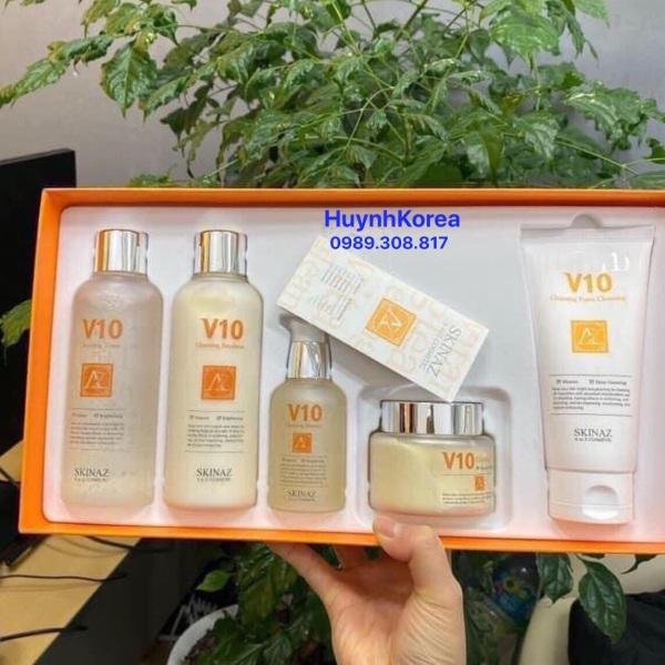 Set dưỡng trắng da V10 Skinaz Hàn Quốc xách tay (Set 5 món) giá rẻ