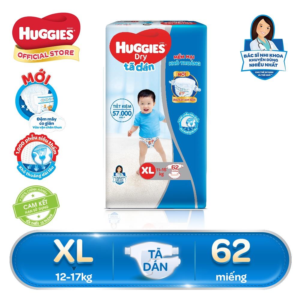 [GIẢM 40K ĐƠN 799K] Tã/bỉm dán Huggies Dry Super Jumbo XL62(Đệm mây co giãn) - Gói 62 miếng - Cho bé 11-16kg