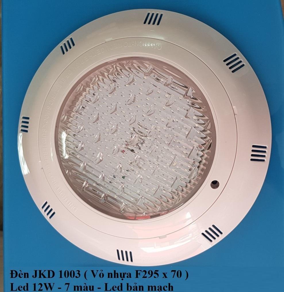 Đèn led dùng cho HỒ BƠI hoặc HỒ CÁ hoặc SÂN VƯỜN 7 màu ánh sáng đổi tự động, vỏ ngoài bằng nhựa 12W-12V mã JKD1001