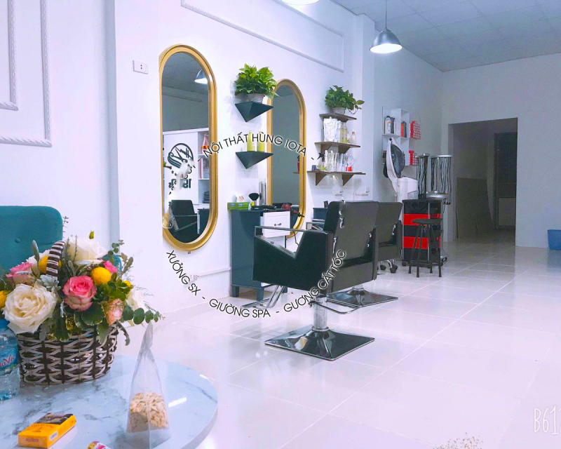 Gương cắt tóc barber bo tròn xịn 2 đầu màu vàng