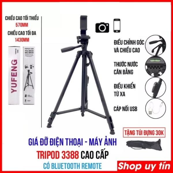 Chân máy ảnh, tripod Weifeng WT-3388  cao cấp, siêu chắc và tặng kèm kẹp điện thoại và remod xịn ( SIÊU BỀN )