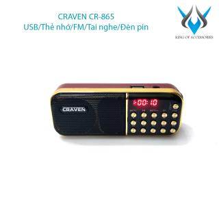 [HCM]Loa đài FM Craven CR-865 hỗ trợ Thẻ nhớ USB Tai nghe Đèn pin - dùng pin rời 18650 (Đen đỏ) Phụ Kiện 1986 thumbnail