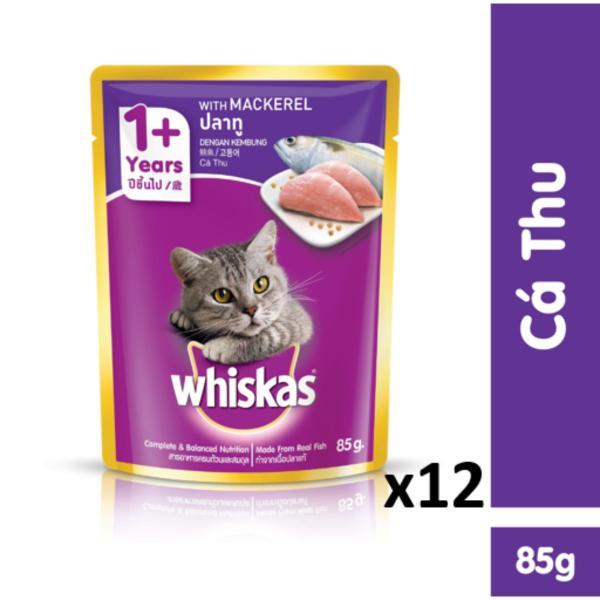 Bộ 12 túi thức ăn cho mèo Whiskas vị cá thu 85g