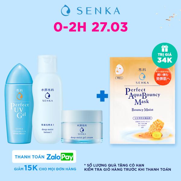 Bộ sản phẩm Senka dưỡng ẩm chuyên sâu - chống nắng và ngăn ngừa lão hóa (Senka deepmoist lotion + gel cream + UV essence)