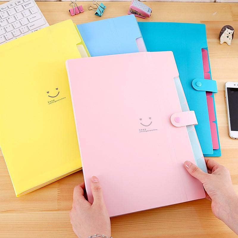 Mua Bìa đựng hồ sơ mặt cười nhiều ngăn (Hồng phấn)