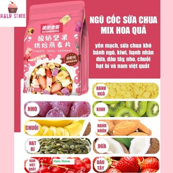 [ĂN KIÊNG] Ngũ cốc sữa chua ăn kiêng mix hạt, hoa quả YOGURT FRUIT OATMEAL gói màu Hồng 400g - Đài Loan (loại có thêm cục sữa chua)