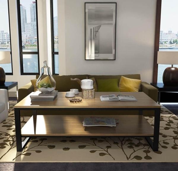 bàn trà 2 tầng phòng khách màu gỗ