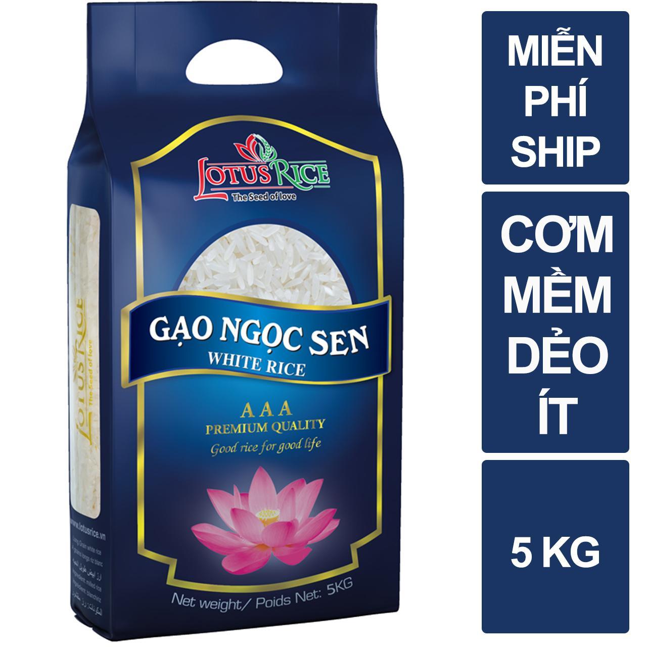 Gạo Ngọc Sen Lotus Rice 5kg - Chuẩn Xuất Khẩu Có Giá Tốt