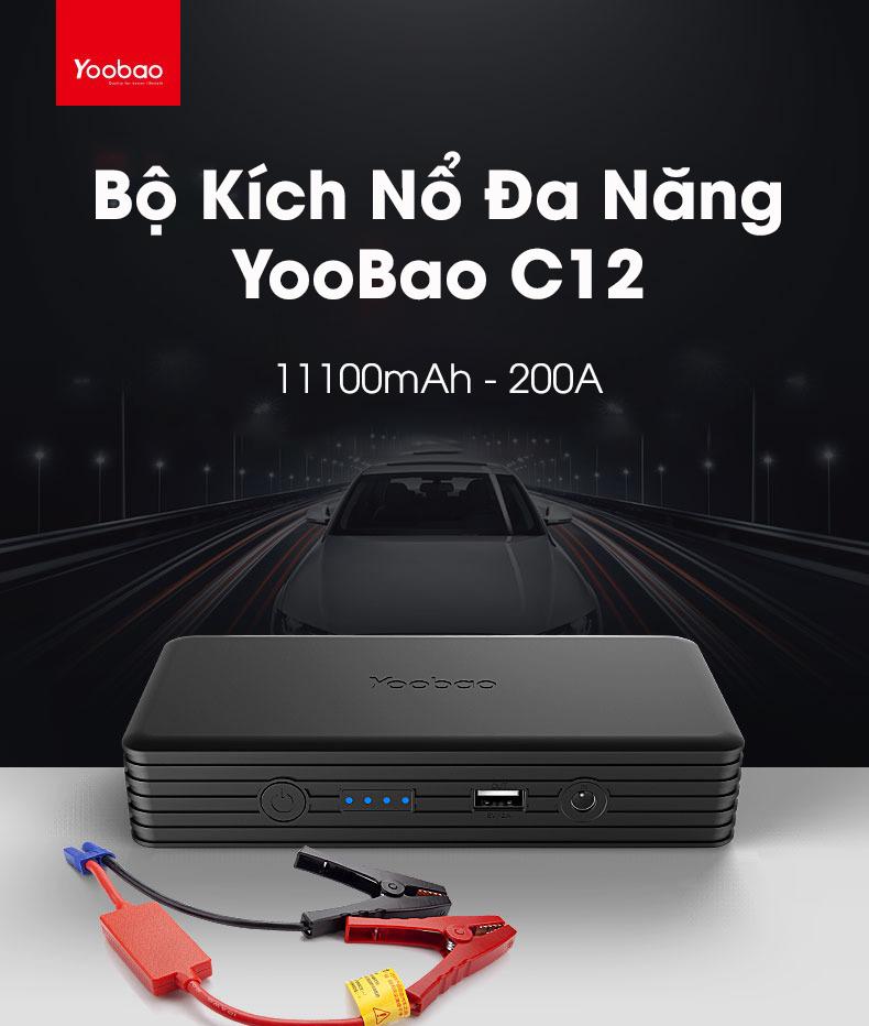 Bộ kích nổ, cứu hộ xe hơi Yoobao C12 cống suất 200A tích hợp pin sạc dự phòng dung lượng 11100mAh, đèn LED siêu sáng
