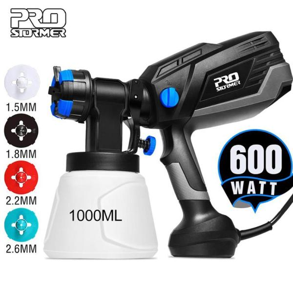 PROSTORMER 600W Electric Sprayer HVLP Home Paint Sprayer 1000ml Capacity 4 Nozzle Sizes Flow Control Airbrush Easy Spraying