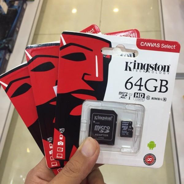 Thẻ nhớ Kingston 64GB Micro SD Class 10 - Hàng chính hãng