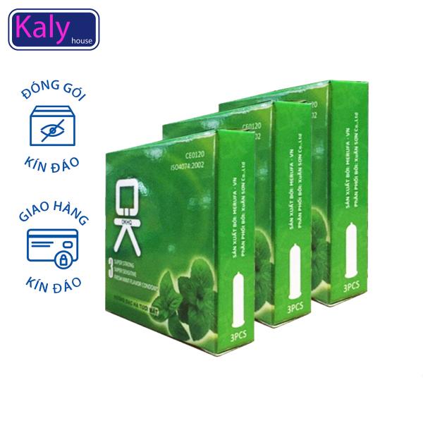 Bộ 3 hộp nhỏ Bao cao su OKHQ mát lạnh cho cảm giác thăng hoa. cao cấp