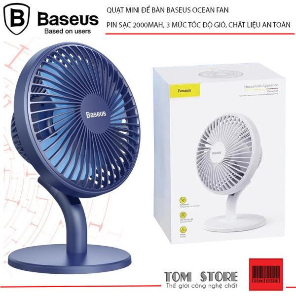Quạt mini để bàn Baseus Ocean Fan Pin sạc 2000mAh, 3 mức tốc độ gió, thích hợp để trên bàn làm việc và phòng điều hòa