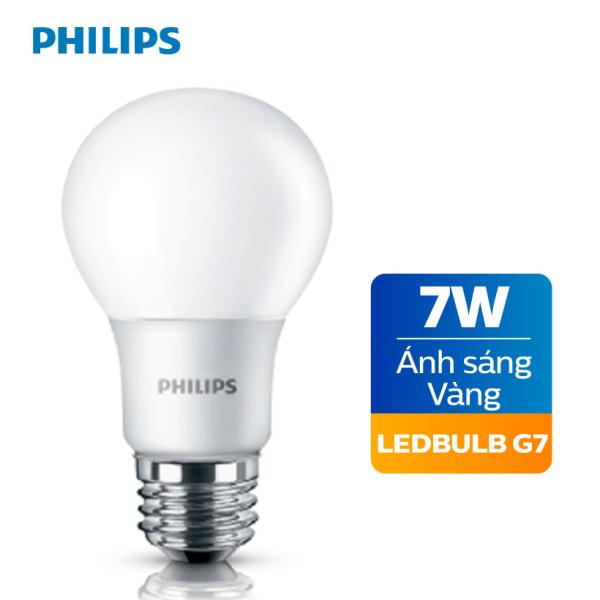 Bóng đèn Philips Ledbulb 7W 3000K đuôi E27 230V A60 - Ánh sáng vàng / Ánh sáng trắng