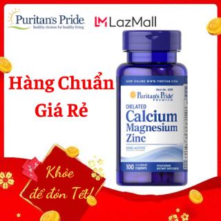 Sales 85% - Cao hơn, đẹp trai xinh gái hơn (HSD tháng 30 10 2021) Puritan s Pride Chelated Calcium, Magnesium & Zinc 100 viên thumbnail