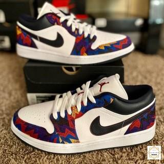 Giày Thể Thao Sneakers Air Jordan 1 Low Nothing But Net Thổ Cẩm Cổ Thấp Cho Cả Nam Và Nữ Clever Man Store thumbnail
