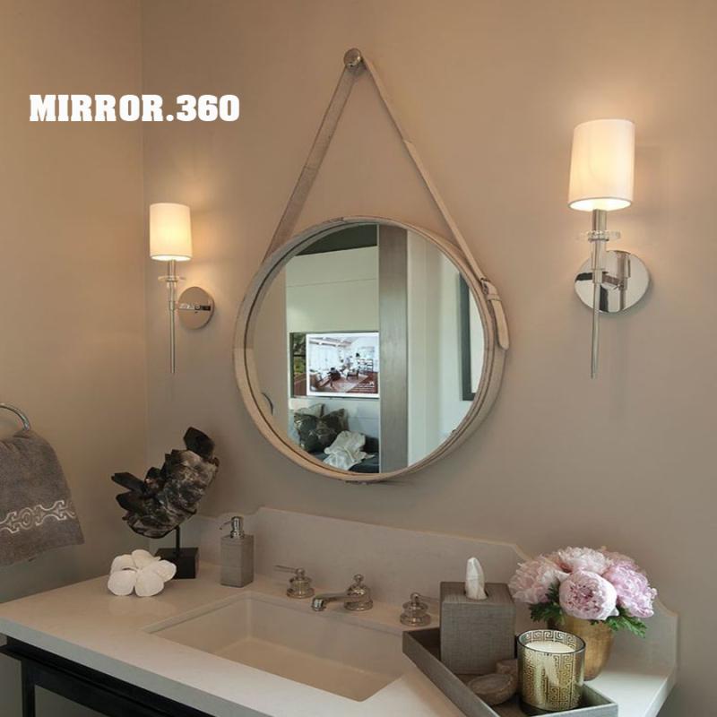 (Size 40cm) Gương Tròn Treo Tường Viền Da Simili (Màu trắng). Tặng kèm phụ kiện treo gương.