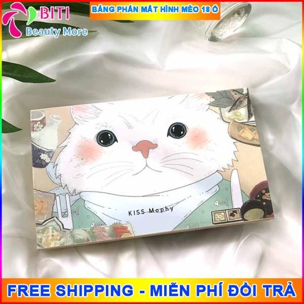 [SIÊU PHẨM MỚI VỀ] Bảng phấn mắt hình mèo 18 ô siêu xinh Biti Shop tông màu trendy lên màu đẹp Bộ phấn mắt nhũ lấp lánh siêu mịn - Phấn mắt nội địa Trung Biti Shop
