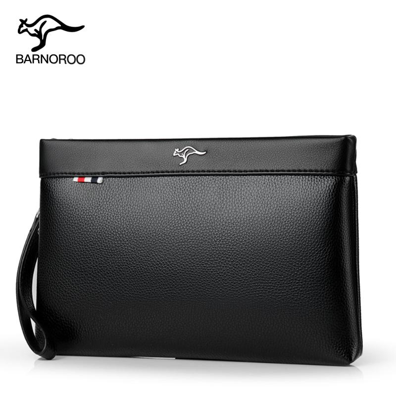 BARNOROO Handbag Men Clutch Briefcase Large Capacity Clutch Bag Business Casual Wallet Soft Leather Envelope